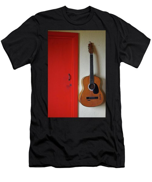 Guitar And Red Door Men's T-Shirt (Athletic Fit)