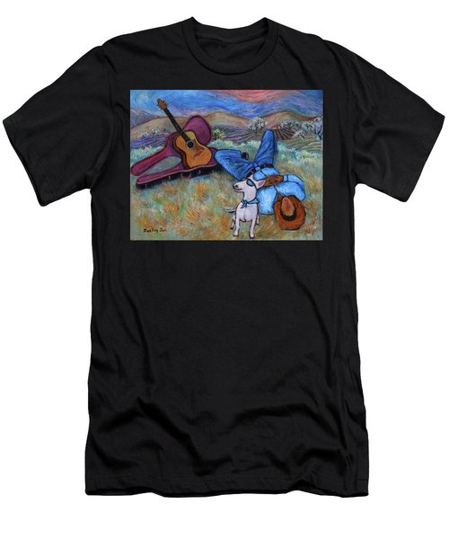 Guitar Doggy And Me In Wine Country Men's T-Shirt (Athletic Fit)