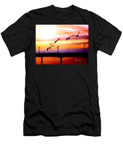 Men's T-Shirt (Slim Fit) featuring the photograph Gull Play by Sadie Reneau