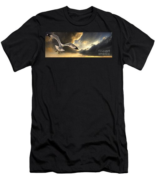 Gull With Approaching Storm Men's T-Shirt (Athletic Fit)