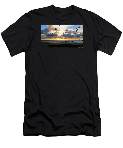 Men's T-Shirt (Slim Fit) featuring the photograph Gulls Take Wing by Robert Banach