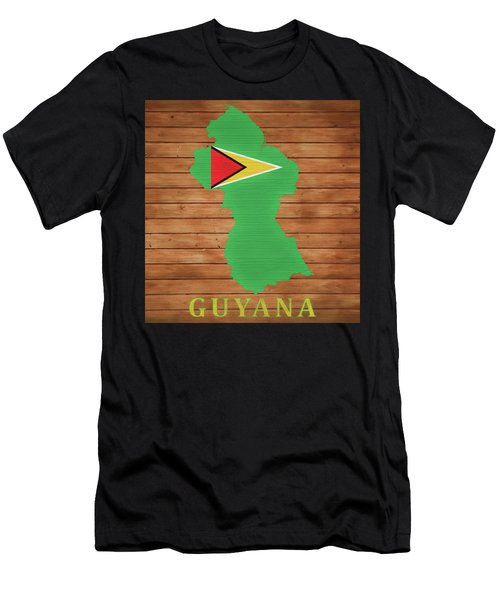 Guyana Rustic Map On Wood Men's T-Shirt (Athletic Fit)