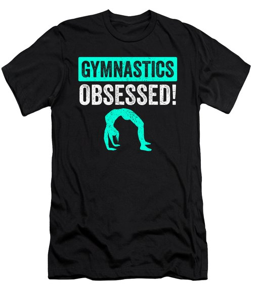 Gymnastics Obsessed Silhouette Teal Gymnast Light Men's T-Shirt (Athletic Fit)
