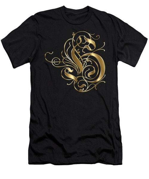 H Ornamental Letter Gold Typography Men's T-Shirt (Athletic Fit)