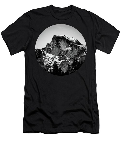 Half Dome Aglow, Black And White Men's T-Shirt (Athletic Fit)