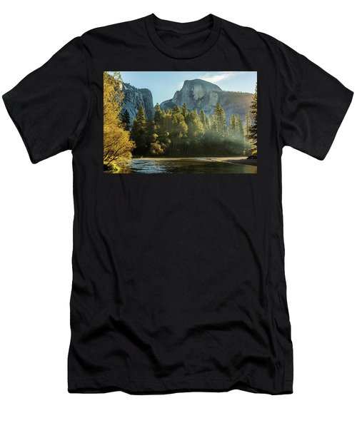 Half Dome And Merced River Autumn Sunrise Men's T-Shirt (Athletic Fit)