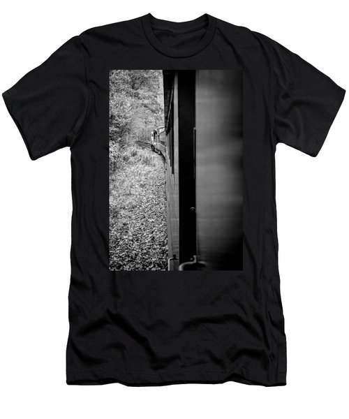 Half In Half Out Of The Train In The Mountains Men's T-Shirt (Athletic Fit)