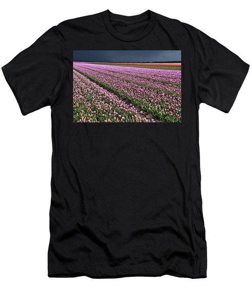Half Side Purple Tulip Field Men's T-Shirt (Athletic Fit)