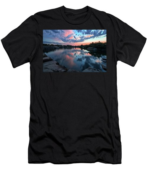 Men's T-Shirt (Athletic Fit) featuring the photograph  Halibut Pt Quarry Reflection Rockport Ma by Michael Hubley