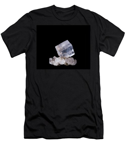 Halite Crystal Cluster Front View On Black Background Men's T-Shirt (Athletic Fit)