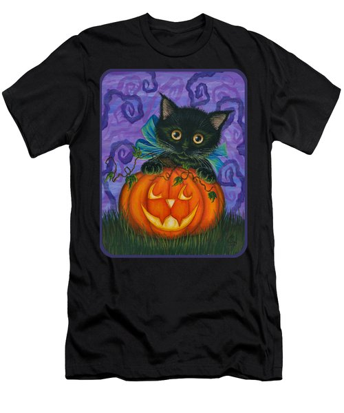 Halloween Black Kitty - Cat And Jackolantern Men's T-Shirt (Athletic Fit)