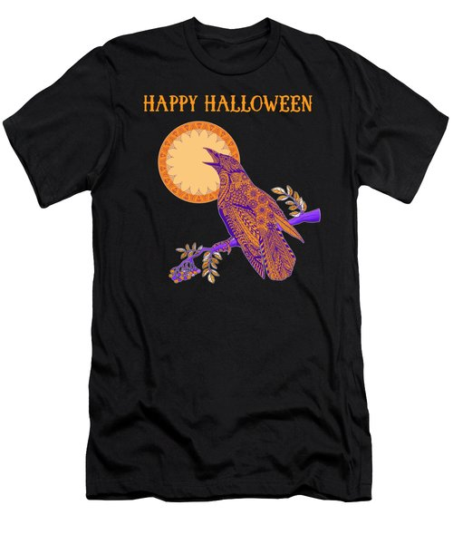 Halloween Crow And Moon Men's T-Shirt (Athletic Fit)