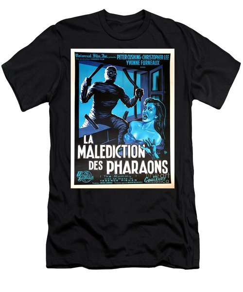 Hammer Movie Poster The Mummy La Malediction Des Pharaons Men's T-Shirt (Athletic Fit)