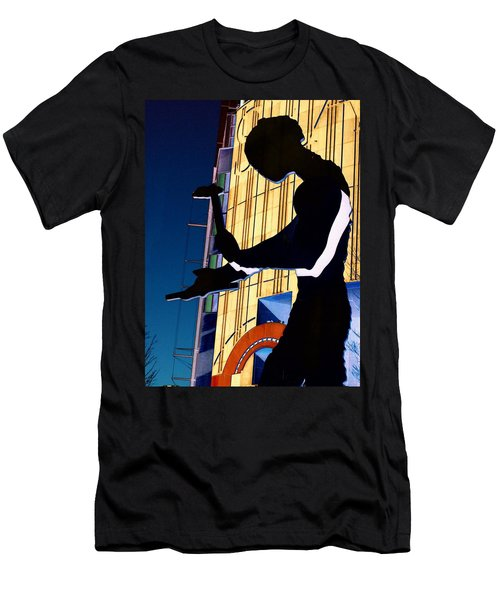 Men's T-Shirt (Slim Fit) featuring the digital art Hammering Man by Tim Allen