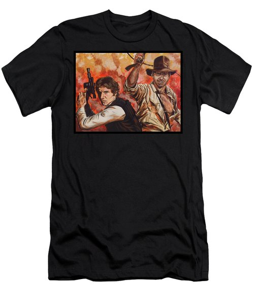 Men's T-Shirt (Athletic Fit) featuring the painting Han Solo And Indiana Jones by Joel Tesch