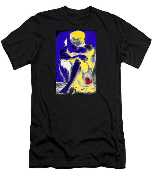 Original Contemporary Painting A Handsome Nude Man Men's T-Shirt (Slim Fit) by RjFxx at beautifullart com