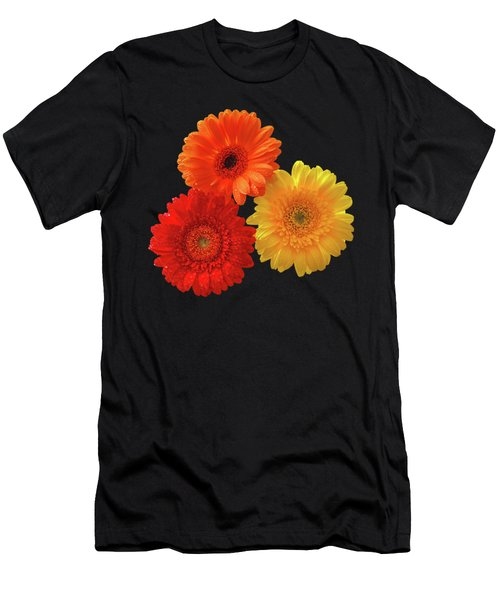 Happiness - Orange Red And Yellow Gerbera On Black Men's T-Shirt (Slim Fit) by Gill Billington