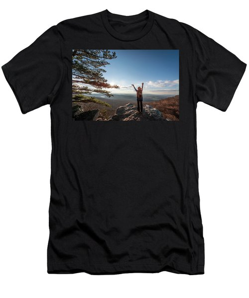 Happy Female Hiker At The Summit Of An Appalachian Mountain Men's T-Shirt (Athletic Fit)