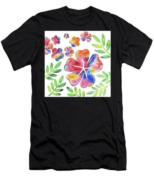 Happy Flowers Watercolor Silhouettes  Men's T-Shirt (Athletic Fit)