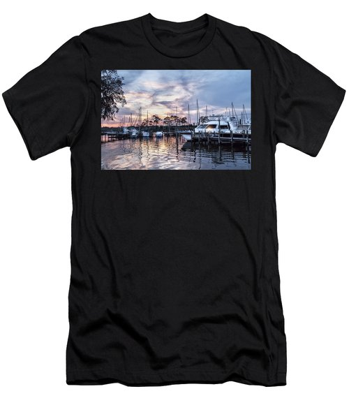 Happy Hour Sunset At Bluewater Bay Marina, Florida Men's T-Shirt (Athletic Fit)