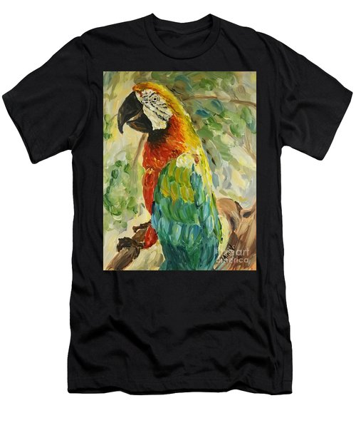 Men's T-Shirt (Athletic Fit) featuring the painting Happy Parrot by Maria Langgle
