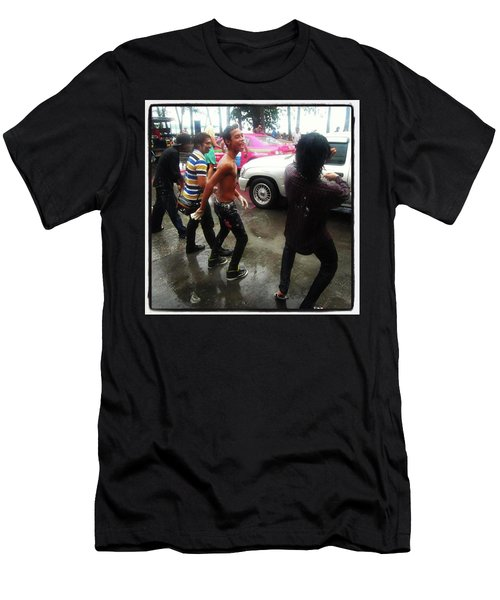 Men's T-Shirt (Athletic Fit) featuring the photograph Happy Songkran. The Water Splashing by Mr Photojimsf