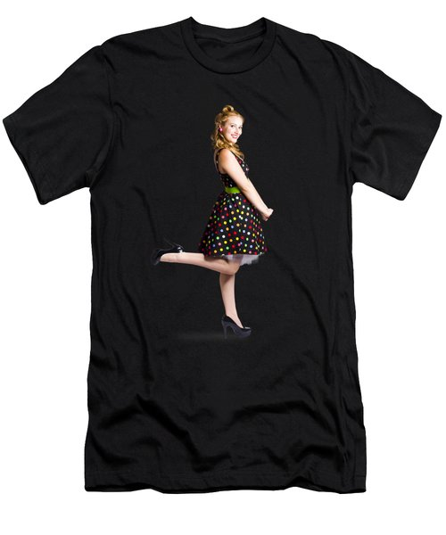 Happy Woman In Retro Dress Men's T-Shirt (Athletic Fit)