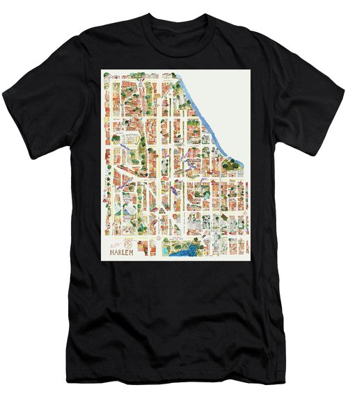 Harlem Map From 106-155th Streets Men's T-Shirt (Athletic Fit)