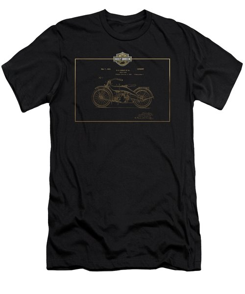 Men's T-Shirt (Slim Fit) featuring the digital art Harley-davidson 1924 Vintage Patent In Gold On Black by Serge Averbukh