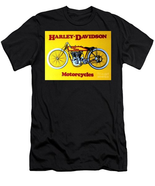 Men's T-Shirt (Slim Fit) featuring the painting Harley - Davidson  Poster by Pg Reproductions
