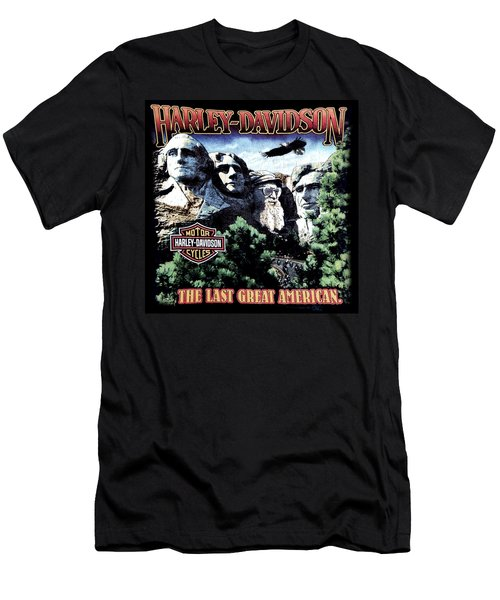 Men's T-Shirt (Slim Fit) featuring the digital art Harley Davidson The Last Great American by Gina Dsgn