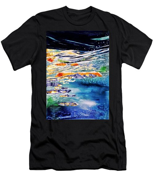 Harmony In Blue And Gold  Men's T-Shirt (Slim Fit) by Trudi Doyle