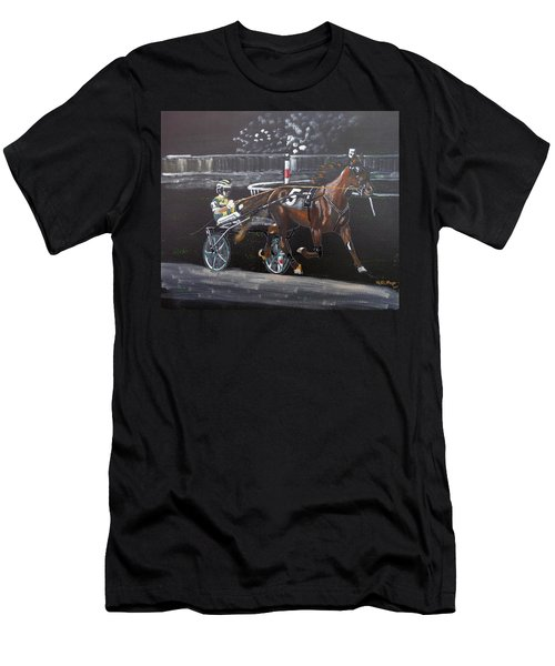 Men's T-Shirt (Athletic Fit) featuring the painting Harness Racing by Richard Le Page