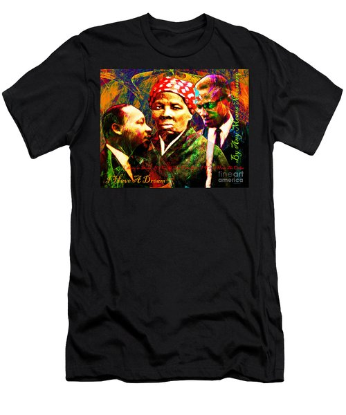 Harriet Tubman Martin Luther King Jr Malcolm X 20160421 Text Men's T-Shirt (Athletic Fit)