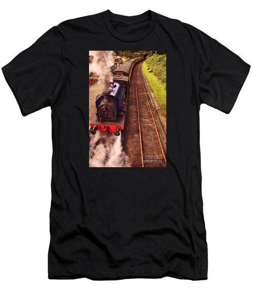 Men's T-Shirt (Slim Fit) featuring the photograph Harry Potters Haverthwaite Railway Station by Graham Hawcroft pixsellpix