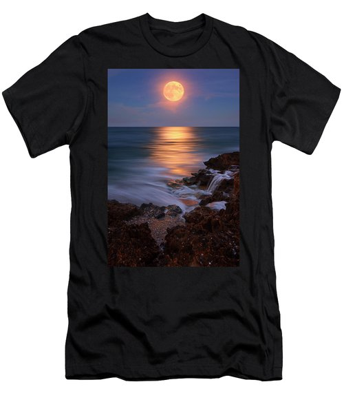 Harvest Moon Rising Over Beach Rocks On Hutchinson Island Florida During Twilight. Men's T-Shirt (Slim Fit) by Justin Kelefas