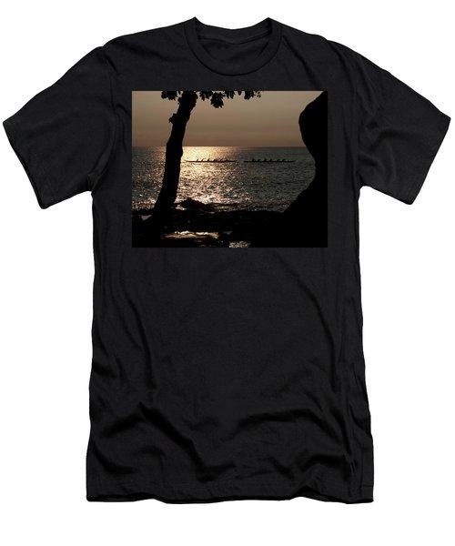 Hawaiian Dugout Canoe Race At Sunset Men's T-Shirt (Slim Fit) by Michael Bessler