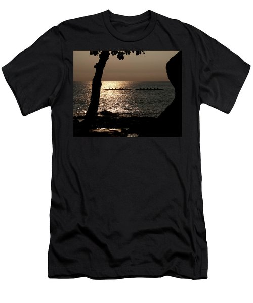 Hawaiian Dugout Canoe Race At Sunset Men's T-Shirt (Athletic Fit)
