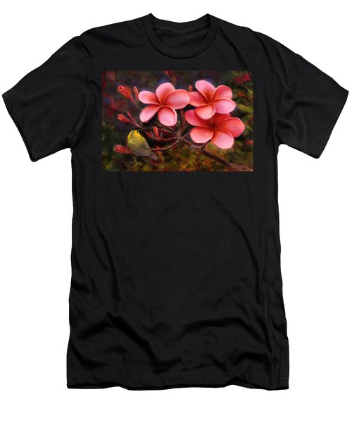 Hawaiian Pink Plumeria And Amakihi Bird Men's T-Shirt (Athletic Fit)