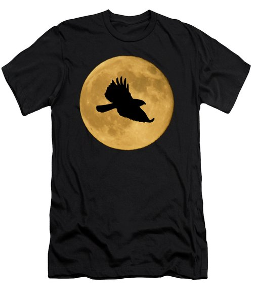 Hawk Flying By Full Moon Men's T-Shirt (Athletic Fit)