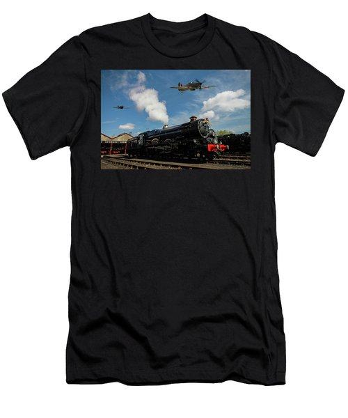 Hawker Hurricanes Beating Up A Goods Yard Men's T-Shirt (Slim Fit) by Ken Brannen