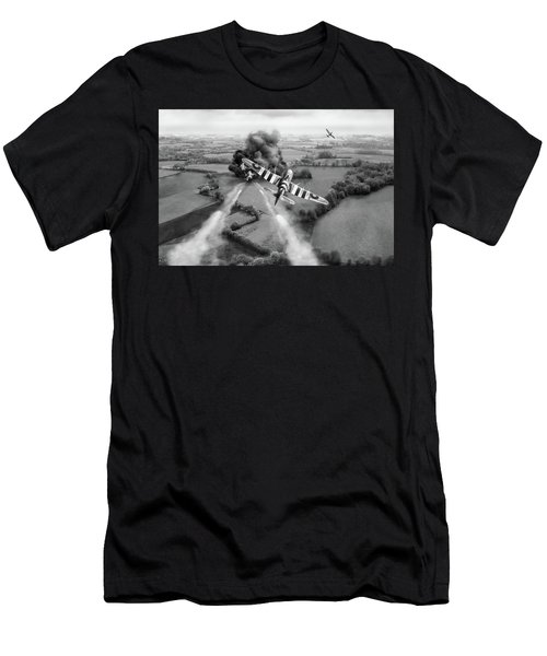 Men's T-Shirt (Athletic Fit) featuring the photograph Hawker Typhoon Rocket Attack Bw Version by Gary Eason