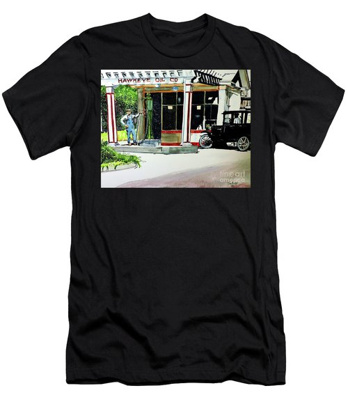 Men's T-Shirt (Slim Fit) featuring the painting Hawkeye Oil Co by Tom Riggs