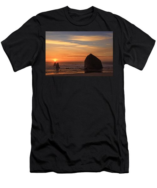 Haystack Rock Ocean Sunset, Cannon Beach, Oregon Men's T-Shirt (Athletic Fit)