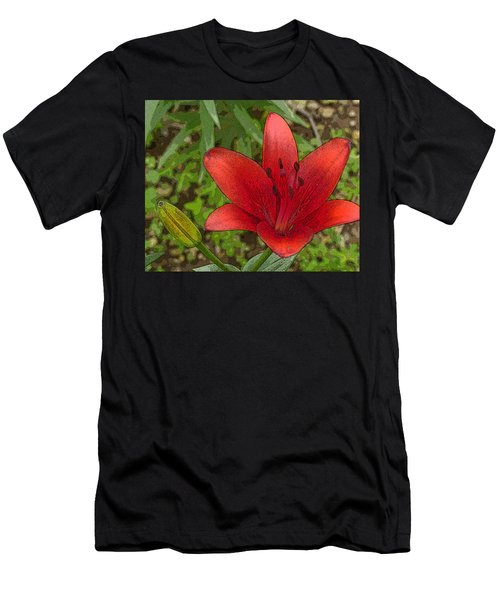Hazelle's Red Lily Men's T-Shirt (Athletic Fit)