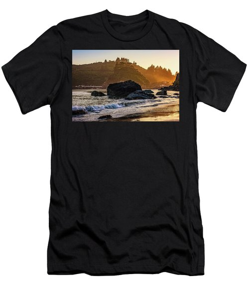 Men's T-Shirt (Athletic Fit) featuring the photograph Hazy Golden Hour At Trinidad Harbor by John Hight