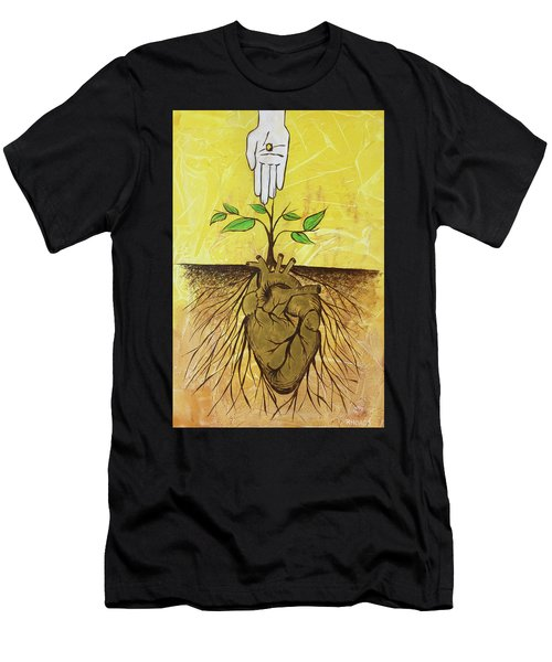 Men's T-Shirt (Athletic Fit) featuring the painting He Cultivates Our Hearts by Nathan Rhoads