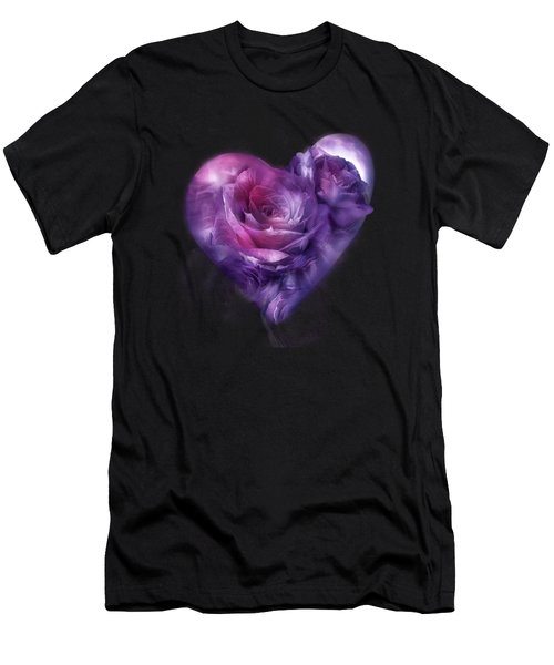 Heart Of A Rose - Burgundy Purple Men's T-Shirt (Athletic Fit)