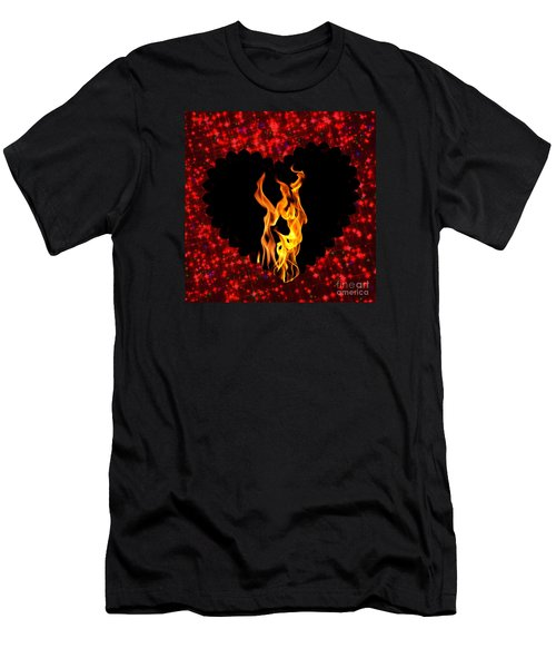 Heart On Fire  Men's T-Shirt (Athletic Fit)