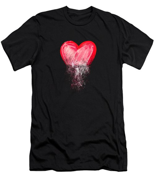 Men's T-Shirt (Slim Fit) featuring the digital art Heart Painted From Tangle Of Scribbles by Michal Boubin